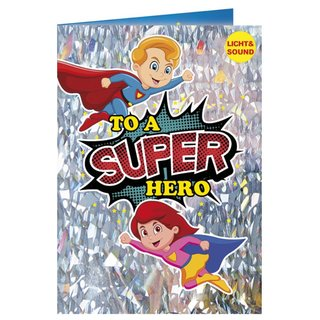 Geburtstagskarte mit Musik u. Licht - Super Hero, Happy Birthday Superman