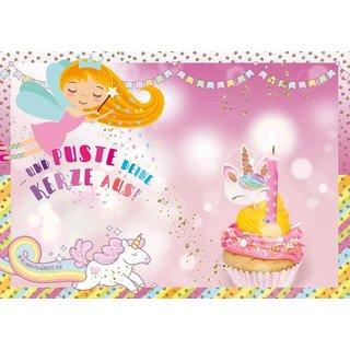 Wie schön das Du geboren bist Geburtstagskarte mit Musik und Kerze Einhorn