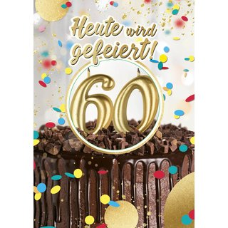 Great Cards Zahl 60 - Happy Birthday mit Kerzen ausblasen - Musik, Licht u. Funktion